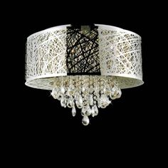 Outstanding Brizzo Lighting Stores 22quot Web Modern Laser Cut Drum Shade Crystal Flushmount Chandelier