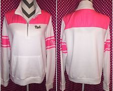 NWT Victoria's Secret PINK White & Pink Pullover Quarter Zip Sweatshirt LARGE!!
