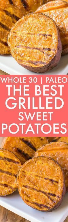 The BEST Grilled Sweet Potatoes (Whole 30 Paleo V GF)- friendly and SO addictive- This quick EASY and healthy meat-free dish will be a favorite! Perfect for dinner lunch or snacks! {whole 30 paleo vegan gluten free recipe}- thebigmansworld Grilling Recipes, Gluten Free Recipes, Vegan Recipes, Paleo Vegan, Cooking Recipes, Grilling Ideas, Vegan Raw, Vegan Butter, Healthy Meats