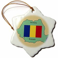 3dRose orn_39222_1 The Map and Flag of Romania with Romania Printed in Both English and Romanian Snowflake Decorative Hanging Ornament, Porcelain, 3-Inch *** Final call for this special discount