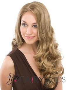 Personalized Long Wavy Blonde No Bang Full Lace Wigs 22 Inch