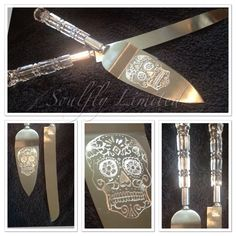 SUGAR SKULL hand engraved/ personalised free/ cake servers/ wedding/ bridal/ gift/ day of the dead/ doa de los muertos by SoulflyLimited on Etsy https://www.etsy.com/listing/252618452/sugar-skull-hand-engraved-personalised
