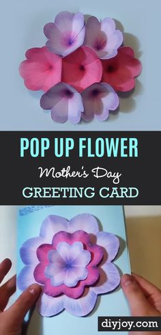 Creative DIY Mothers Day Card With Pop Up Flowers - Cool Homemade Card Ideas to Make for Your Mom on Mother's Day