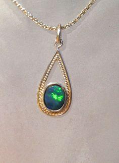 Australian Opal Pendant - Sterling SIlver Opal Doublet Pendant Necklace