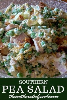 Southern Pea Salad - The Southern Lady Cooks - Southern Recipe Pea Salad Recipes, Veggie Recipes, Lunch Recipes, Appetizer Recipes, Vegetarian Recipes, Healthy Recipes, Recipe For Pea Salad, Appetizers, Pea And Peanut Salad Recipe