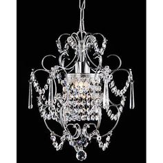 This is, by far, the prettiest chandelier I've purchased!  It's  a steal from Overstock.com $89    - used coupon code for extra 20% off, plus free shipping.  This is hanging above tub in master bath.  It's really sparkly & pretty.
