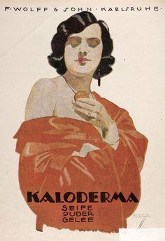 By Ludwig Hohlwein (1874-1949), Kaloderma cosmetics. Um 1924.