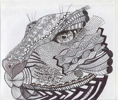 Images For > Zentangle Lion Head