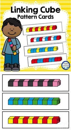 Linking Cube Pattern Cards make a fun hands on math center for Pre-K and Kindergarten.