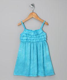 Turquoise Tie-Dye Ruffle Dress - Toddler & Girls