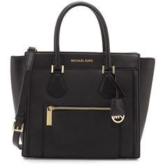 MICHAEL Michael Kors Colette Large Zip-Top Satchel Bag ($238) ❤ liked on Polyvore featuring bags, handbags, black, leather totes, large zip tote, zip top tote bag, leather tote purse and satchel purses