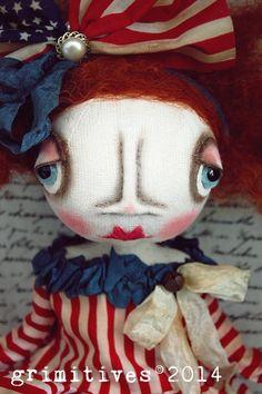 OOAK Primitive Original Folk Art Americana Doll by GRIMITIVES, $150.00
