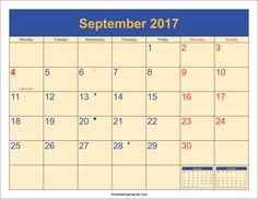 September Calendar 2017  http://socialebuzz.com/september-2017-calendar-printable-template/