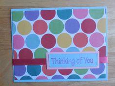 Thinking of You Card - Colorful Rainbow Greeting Card - Handmade Greeting Card