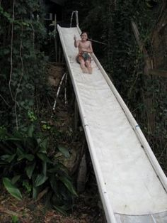 Another homemade slide adventure hanglage Playhouse Outdoor, Outdoor Play, Outdoor Rooms, Outdoor Gardens, Playground Slide, Natural Playground, Backyard Playground, Semi Above Ground Pool, In Ground Pools