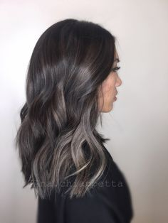Grey by @ana.chiappetta    Cristophe salon Newport Beach Orange County fashion island grey hair grey color platinum highlights balayage beautiful color style Asian hair