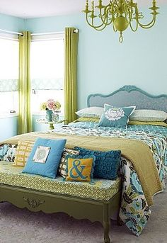 Aqua & Green Bedroom