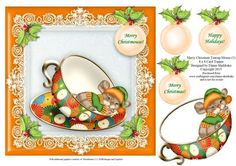 Merry Christmas Teacup Mouse 1 8 x 8 Card Topper on Craftsuprint - Add To Basket!