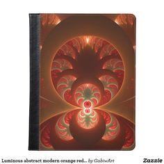 Luminous abstract modern orange red Fractal iPad Case