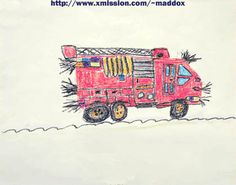 Critique of Kids Drawings:    Ding Ding! Here comes the shit-mobile. I've never seen a fire truck that needed to be shaved. I would rather be burned to death than be saved by this hairy piece of shit. F