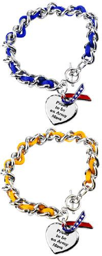 Proud to be an Army Mom Ribbon Charm Bracelet at The Veterans Site