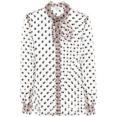 Isa Arfen Polka-Dotted Tulle Blouse ($460) ❤ liked on Polyvore featuring tops, blouses, beige, isa arfen, white blouse, dot blouse, polka dot blouse and beige polka dot blouse