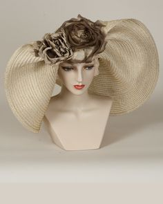 Off Face Floppy, white/gold, metallic braid hat with silk roses