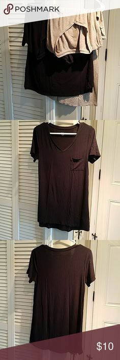 Bundle of 2 Long Legging Length T-shirts Same shirt 2 different colors, long length great for leggings....very soft and comfy pocket t's. From target. Preowned with some evidence of wear see photos, nothing serious. Black t has on small spot on shoulder as pictured. Size small but very stretchy and soft. Tan is small black is medium but fit the same. Mossimo Supply Co Tops Tunics