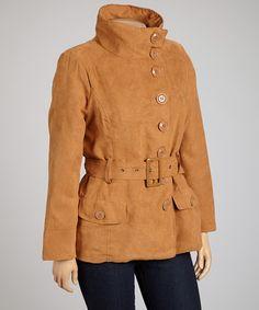 Camel Belted Jacket - Plus