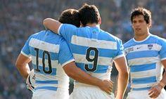 Argentina's Nicolas Sanchez celebrates with his team-mate Martin Landajo. ARG (Los Pumas) v TGA - Rugby World Cup 2015