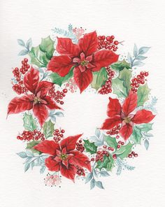 Poinsettia wreath Christmas www.illustrationbyjoo.com