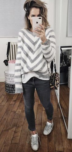 #winter #outfits white and gray chevron sweater