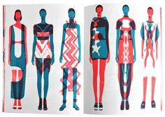 J O H N L I S L E ✎ ✏ ✐ fashion model blue and red silk screen printing illustration mod