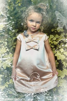 Sweet satin and silver jewelled necklace at Modern Queen Kids for fall 2015 girlswear