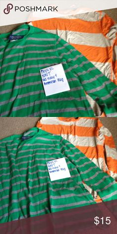 Boys XL two long sleeve shirts. NWT Orange is old navy and green is American rag Old Navy Shirts & Tops Tees - Long Sleeve