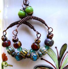 Hoop earrings Dangle earrings colorful jewelry ethnic by chashway, $68.00
