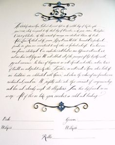 Amber + Jeff's quilled and calligraphed ketubah by Ann Martin + Tara Jones calligraphy