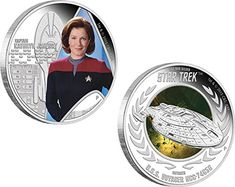2015 TV star trek CAPTAIN KATHRYN JANEWAY U.S.S. VOYAGER NCC-74656 Star Trek Two Silver Coin Set 1$  @ niftywarehouse.com #NiftyWarehouse #StarTrek #Trekkie #Geek #Nerd #Products