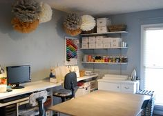 This sewing room is so practical and fun ... and it's all DIY on a budget.
