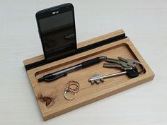Furniture Amazing Wood Docking Station Oak Wood Material Valet Tray Desk Office And Home Furniture Smartphone Android Gadget Key Pen Holder Gift Ideas Beeswax Finish Catchall Gadget Acessories Cool Wood iPhone And Android Docking Station