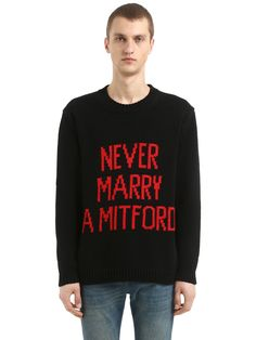 Gucci Never Marry A Mitford Knit Sweater In Black Mitford Sisters, Never Married, Duke Of Devonshire, Alessandro Michele, Gucci Fashion, Gucci Men, Spring Summer 2018, Cotton Sweater, Black Wool