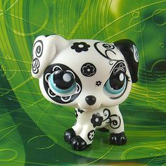 Littlest Pet Shop #1613 RARE BLACK WHITE FLOWER DALMATION DOG Toy Loose LPS71