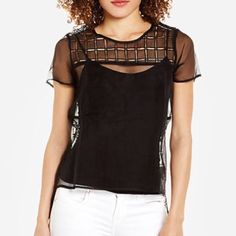 SALE!!!✅LINE & DOT Silk sheer high-low blouse Amazing sheer silk  top with gorgeous lace-like panels..  Its pure silk but firm material.. Wear with a simple black camisole underneath .. Stunning!! Brand new. Never worn. Line & Dot Tops Blouses