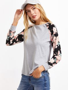 Heather Grey Contrast Floral Raglan Sleeve T-shirt | MakeMeChic.COM Mobile Site