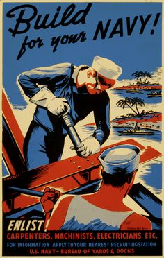 Build for Your Navy! - Vintage WWII Reprint Poster: Build for Your Navy! - Vintage WWII Reprint Poster Proudly Made in the U.A x Poster Printed on High Quality Paper Wpa Posters, A4 Poster, Poster Prints, Pinup Posters, Graphic Posters, Poster Layout, Art Prints, Pin Up, Navy Enlistment