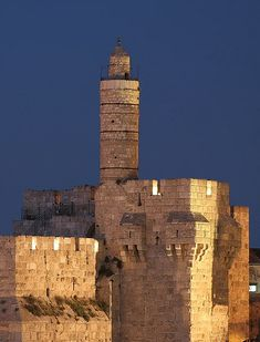 """Tower of David, Israel - ancient citadel located near the Jaffa Gate entrance to the Old City of Jerusalem. The name """"Tower of David"""" is due to Byzantine Christians who believed the site to be the palace of King David. They borrowed the name """"Tower of David"""" from the Song of Songs, attributed to Solomon, King David's son."""