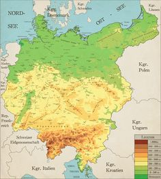 Greater Germany Topgrahical Map (Complete) by Robeatnix on DeviantArt History Memes, History Facts, History Of Germany, Imaginary Maps, Geography Map, German Soldiers Ww2, Age Of Empires, Italy Map, Alternate History