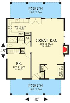 Bungalow House Plan with Guest Bed - floor plan - Main Level Guest House Plans, Bungalow House Plans, Tiny House Cabin, Cabin Plans, Small House Plans, House Floor Plans, One Bedroom House Plans, Guest Houses, Guest Cottage Plans