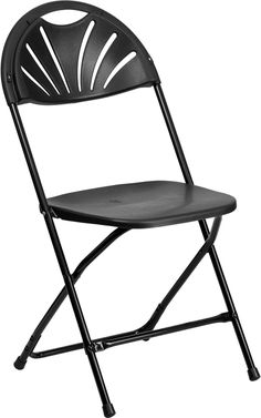 Capacity Black Plastic Fan Back Folding Chair