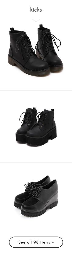 """kicks"" by baepepsi ❤ liked on Polyvore featuring shoes, boots, ankle booties, black, botas, chunky black booties, chunky black boots, black platform boots, black low heel booties and chunky booties"